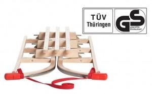 Impag® Klappschlitten Holzschlitten mit Lehne und Zugseil Sport 105 cm in verschiedenen Farben