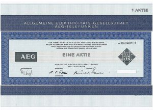 Alte AEG-Aktie von 1968 © Manfred Kopka|Wikipedia